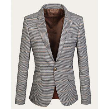 Stylish Lapel Long Sleeves Polyester Slimming Houndstooth Blazer For Men