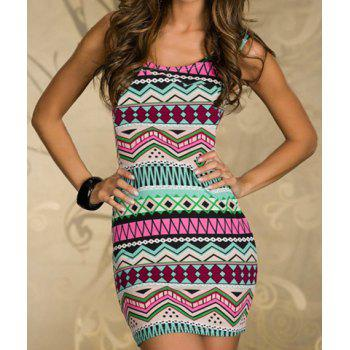 Geometrical Print Bodycon Dress with T-back - BLUE AND PINK BLUE/PINK