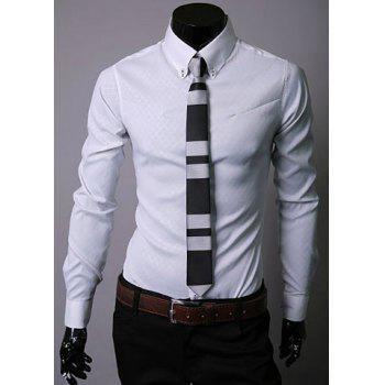 Long Sleeve Lapel Hidden Plaid Dress Shirt - WHITE WHITE