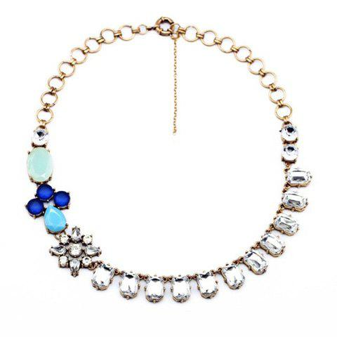 Faux Gem Design Flower Shape Necklace