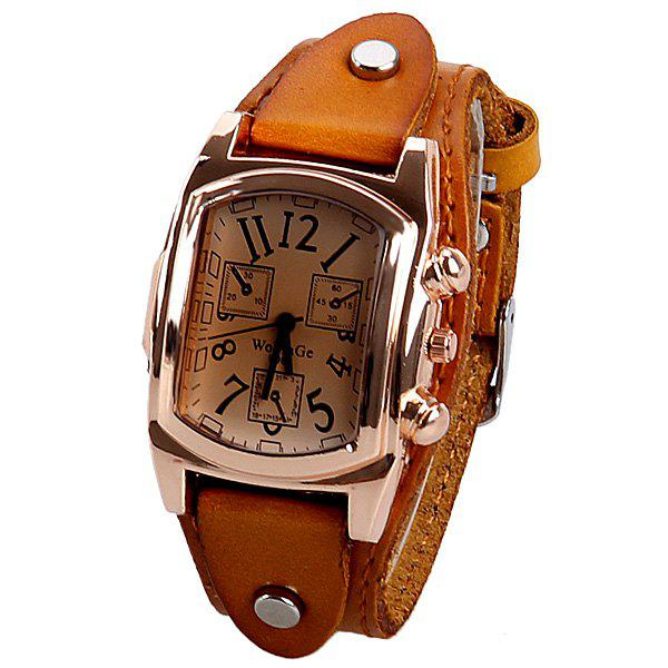 Quartz Watch with Analog Real Leather Watchband for Women - BROWN