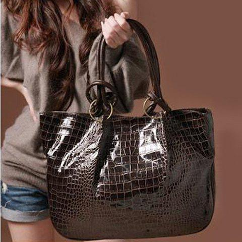 Stone Pattern Shoulder Bag - COFFEE