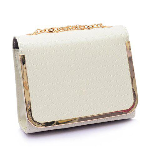 Trendy Chain and Candy Color Design Shoulder Bag For Women - WHITE