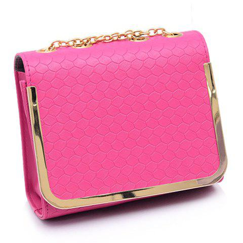 Trendy Chain and Candy Color Design Shoulder Bag For Women - ROSE