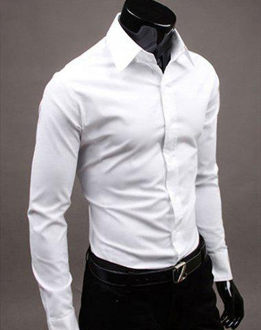 Basic Lapel Solid Color Men's Long Sleeve Cotton Blend Dress Shirt - WHITE L