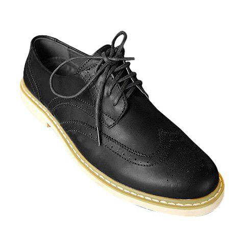 British Style Openwork and Solid Color Design Men's Casual Shoes - BLACK 43