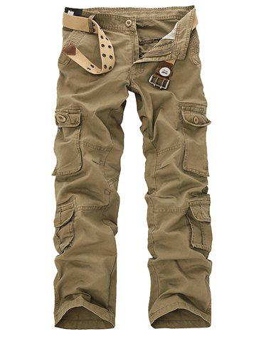 Outdoor Style Bleach Wash Multi Pockets Men's Cotton Blend Long Cargo Pants - KHAKI 36
