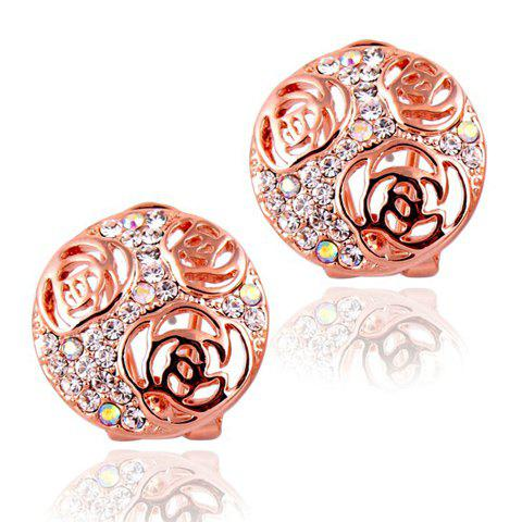 Pair of Exquisite Hollow Rose Embellished Round Alloy Earrings For Women - COLOR ASSORTED