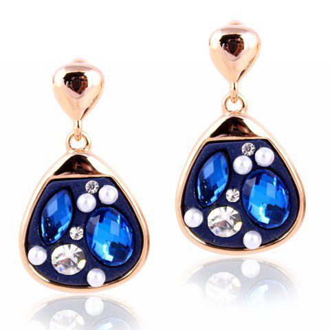Pair of Colored Diamante Waterdrop Shape Pendant Earrings For Women - COLOR ASSORTED