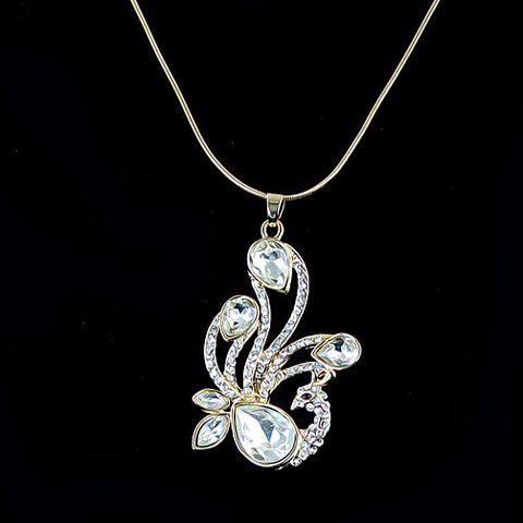 Diamante Faux Crystal Embellished Phenix Pendant Alloy Necklace - WHITE