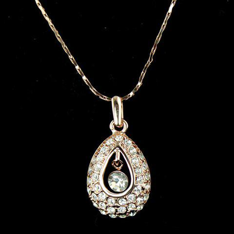 Bling Bling Diamante Waterdrop Shape Pendant Alloy Necklace For Women