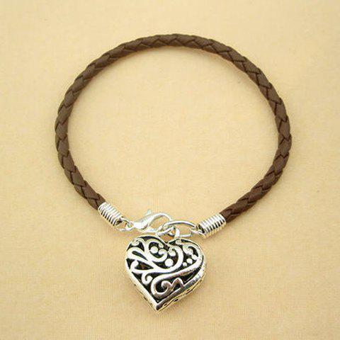 Heart Pendant Faux Leather Charm Bracelet - AS THE PICTURE