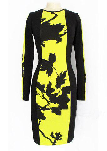 Fashionable Round Collar Long Sleeve Print Design Packet Buttock Dress - YELLOW M