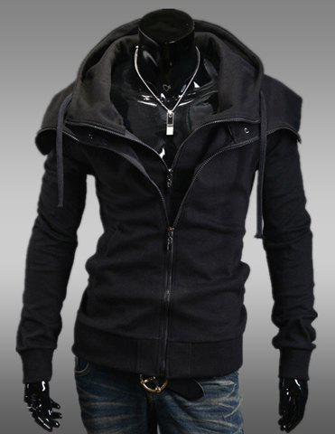 Stylish Faux Twinset Slimming Hooded Thicken Long Sleeve Cotton Blend Men's Coat - BLACK 2XL
