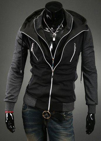 Fashion Hooded Slimming Faux Twinset Thicken Long Sleeve Cotton Blend Men's Coat - BLACK XL