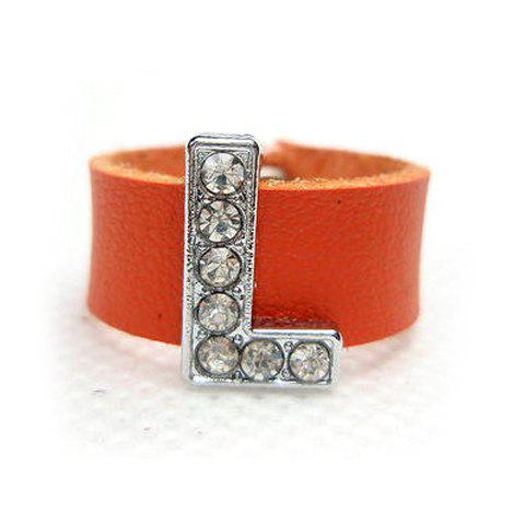 Hot Sale Rhinestoned Letter L Shape Faux Leather Ring For Men and Women - ORANGE ONE SIZE