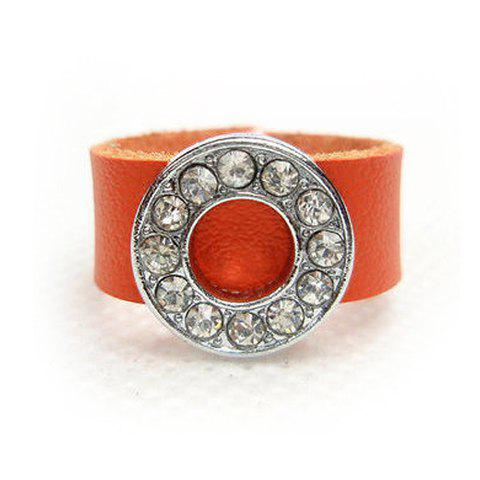 Punk Style Rhinestoned Openwork Round Design Faux Leather Ring