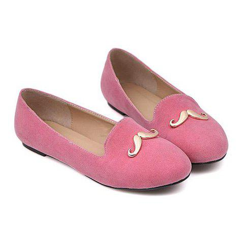 Sweet Solid Color and Metal Moustache Design Women's Flat Shoes - PINK 38