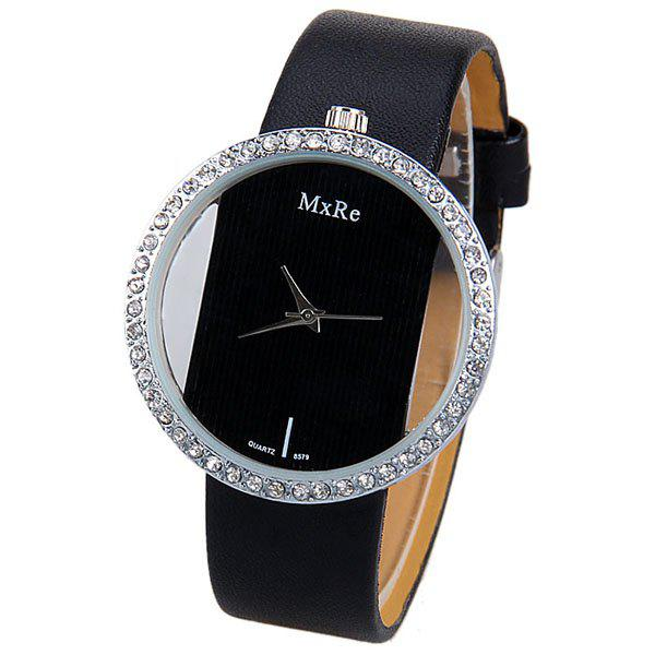 Diamonds Design Hollow Quartz Watch with Analog Indicate Leather Watchband for Women