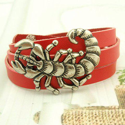 Characteristic Scorpion Shape Design Wrap Leather Bracelet For Men and Women - RED