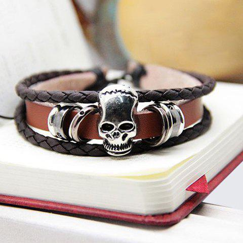 Punk Skull Embellished Multilayered Wrap Bracelet For Men and Women - COLOR ASSORTED