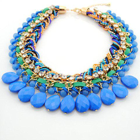 Chic Stylish Handmade Weaving Rhinestone Drop Necklace For Women - COLOR ASSORTED