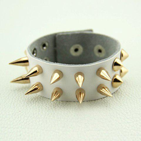 Punk Style Rivet Design Faux Leather Bracelet - WHITE