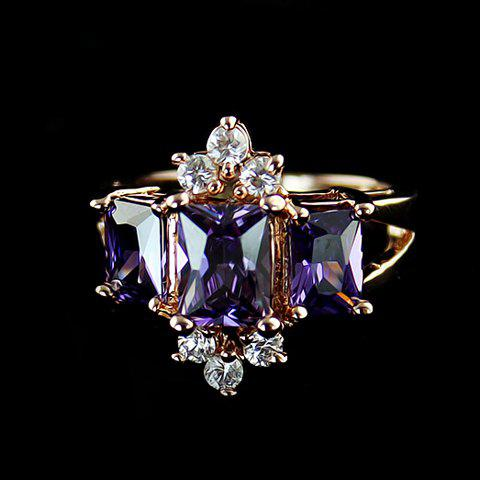Exquisite Purple Faux Crystal Embellished Alloy Ring For Women
