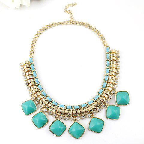 Exaggerated Square Faux Gem Pendant Necklace - BLUE