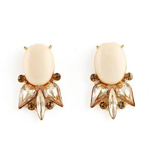 Pair of Vintage Fish Shape Faux Gemstone Earrings For Women