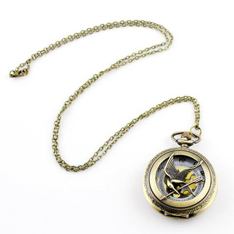 Vintage Pocket Watch Shape Pendant Sweater Chain - LIGHT GOLD