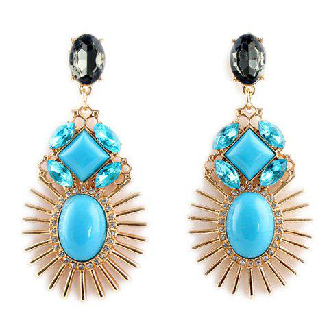 Pair of Characteristic Rhinestoned Alloy Drop Earrings For Women