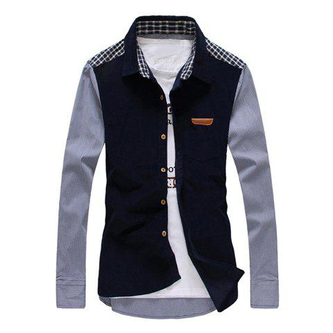 Trendy Corduroy Checked Splicing Slimming Shirt Collar Long Sleeve Cotton Shirt For Men - DEEP BLUE L