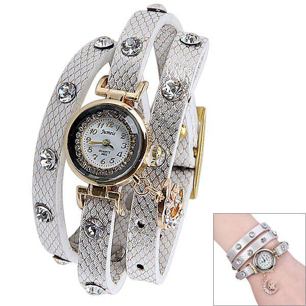 Quartz Watch with Diamonds Moon and Star Design Round Dial and Leather Watch Band for Women - WHITE