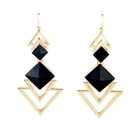 Pair of Square Faux Gem Design Triangle Drop Earrings - BLACK