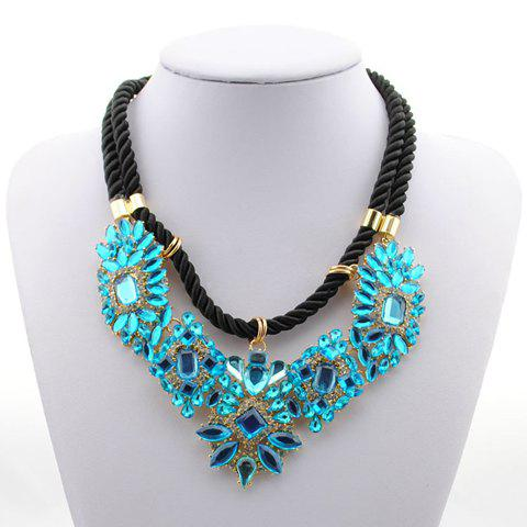 Chic Colored Faux Crystal Pendant Necklace For Women - COLOR ASSORTED