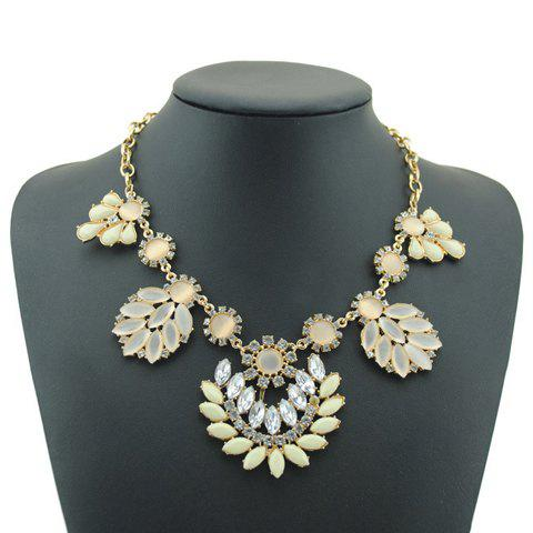 Flower Pendant Alloy Necklace - YELLOW