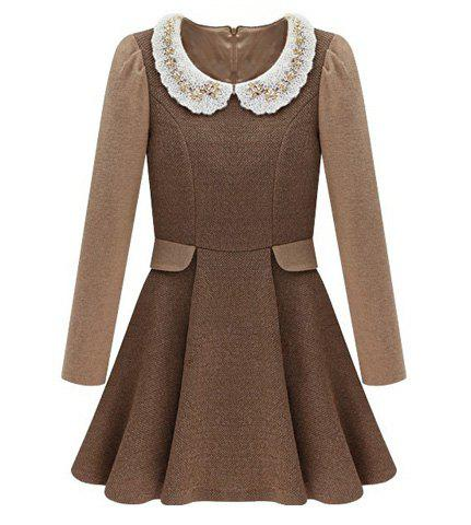 Peter Pan Collar Waisted Long Sleeves Slimming Women's Pleated Dress - DARK KHAKI S