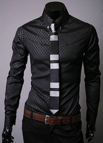 Long Sleeve Lapel Hidden Plaid Dress Shirt - BLACK XL
