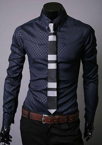 Long Sleeve Lapel Hidden Plaid Dress Shirt - NAVY L