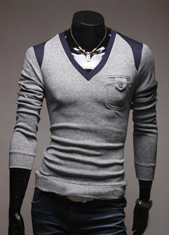 Casual V-Neck Color Block Men's Long Sleeve Pullover Knitted Sweater - GRAY 2XL