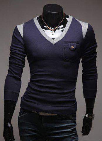 Casual V-Neck Color Block Men's Long Sleeve Pullover Knitted Sweater - NAVY L