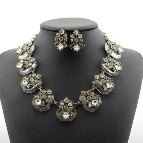 Chic Faux Crystal Embellished Necklace and Earrings For Women - COLOR ASSORTED