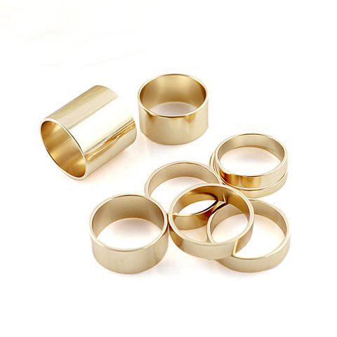 8PCS of Alloy Plated Rings - GOLD ONE SIZE