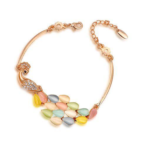 Exquisite Colored Faux Opal Peacock Embellished Alloy Charm Bracelet For Women