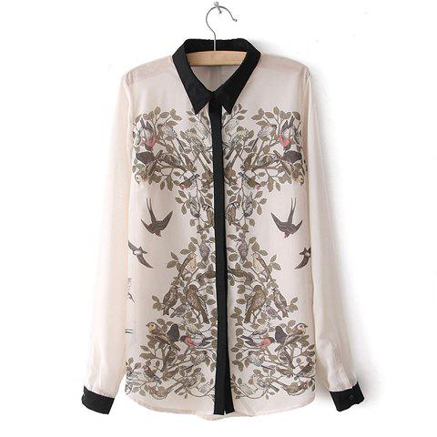 Trendy Turn-Down Collar Ink Magpie Print Color Splicing Long Sleeves Women's Shirt - OFF WHITE M