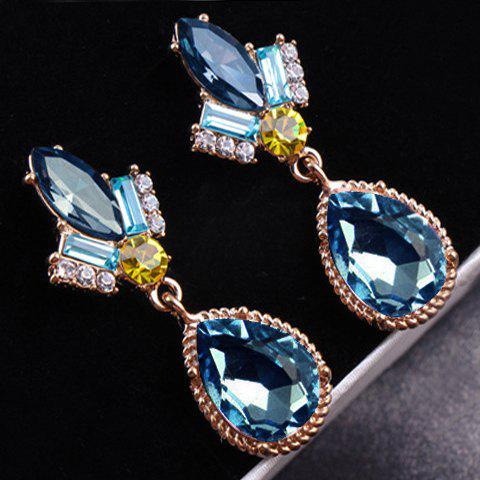 Pair of Stylish Waterdrop Shape Rhinestone Decorated  Earrings For Women - BLUE