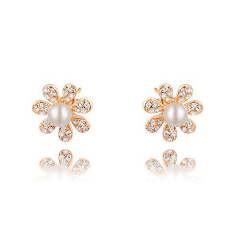 Pair of Faux Pearl Embellished Diamante Flower Earrings - AS THE PICTURE