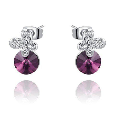 Pair of Chic Purple Faux Crystal Embellished Diamante Butterfly Earrings For Women