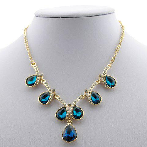 Gorgeous Diamante Polychrome Faux Crystal Embellished Alloy Necklace For Women -  DEEP BLUE